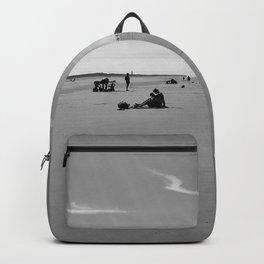 low tide sand beach sunny summer day at ouddorp zeeland netherlands europe black white Backpack