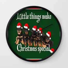 Little Things Make Christmas Special Rottweiler Greetings  Wall Clock