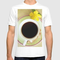 Coffee Time 3 MEDIUM White Mens Fitted Tee