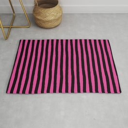 Black and Pink Cabana Stripes Palm Beach Preppy Rug