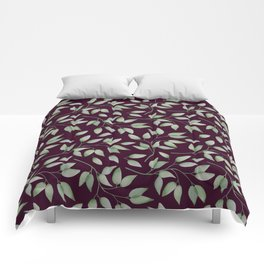 Watercolour leaves pattern on a Burgundy textured background Comforters