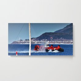Hovercraft Racing to Town Metal Print
