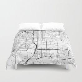 San Bernardino Map, USA - Black and White Duvet Cover