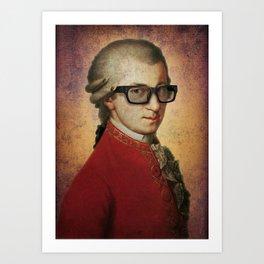 Hipster Mozart Art Print