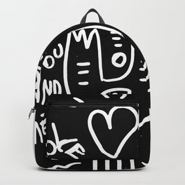 Love is You and Me Street Art Graffiti Black and White Backpack