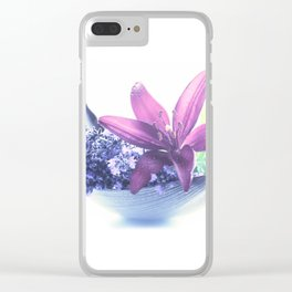 Summer flower pattern lilies and lavender Clear iPhone Case