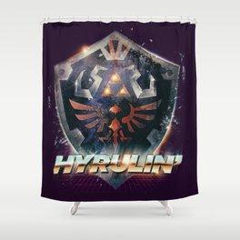 Yeah she sees my Hyrulin' - 80's Legend of Zelda Shield Shower Curtain