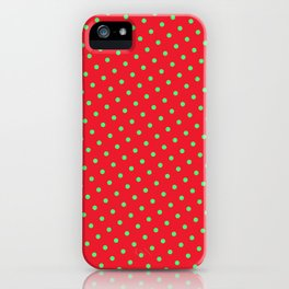 Retro Christmas Green Polka Dots Red Background iPhone Case