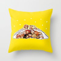 nori Throw Pillows featuring Company cuddlepile by quelm