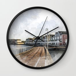 Rainbow Houses. Architectural watercolor and ink drawing Wall Clock