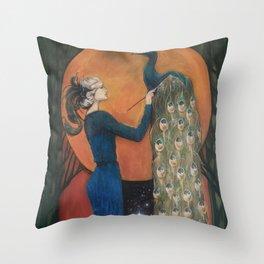 Origin of Inspiration // Peacock Painting Woman Portrait Art Nouveau Bird Stars Goddess Feather Throw Pillow