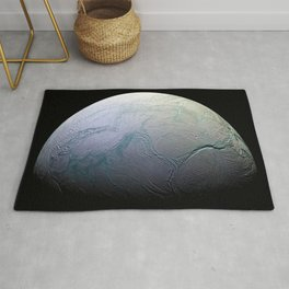 Saturn's moon Enceladus Side View Photograph Rug