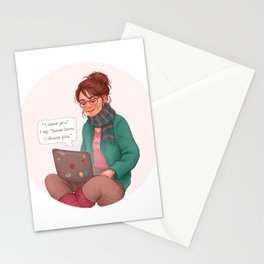 Cath writing Carry On Stationery Cards