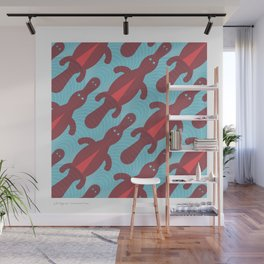 Platypus Convention - blue and coral Wall Mural