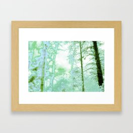 Magical forest in frosty greens Framed Art Print