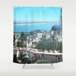 Akka. Carmel range across the bay Shower Curtain