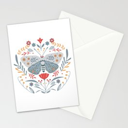 Scandinavian Folk Art - Butterfly & Flowers Stationery Cards