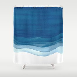 Watercolor blue waves Shower Curtain