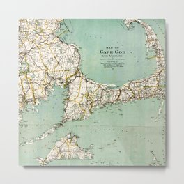 Cap Cod and Vicinity Map Metal Print