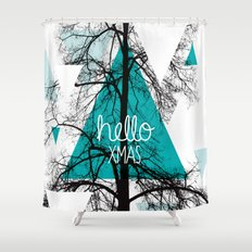 Hello christmas - winter tree geometric photography print Shower Curtain