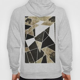Modern Rustic Black White and Faux Gold Geometric Hoody