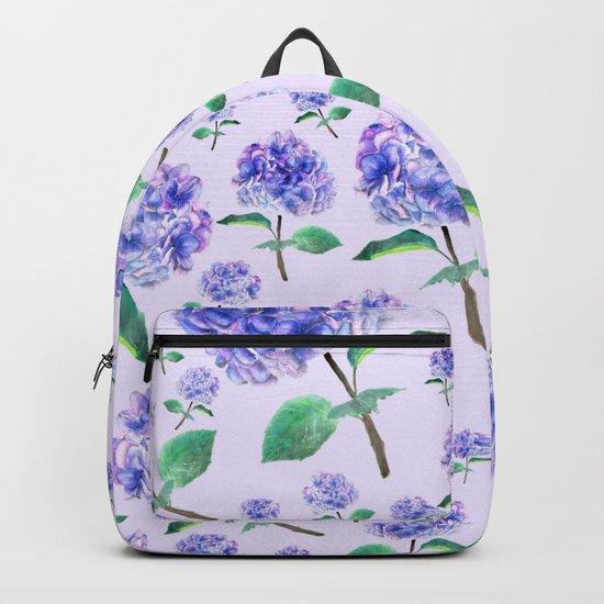 purple blue hydrangea in purple background Backpack
