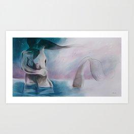 Mermaid?-Embraced couple-Nude Art Print