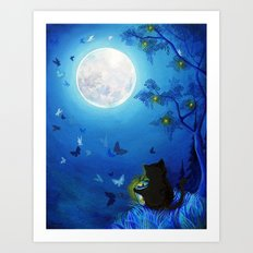 Butterflies and Fairy Lanterns Art Print