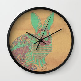 Bunny in Patterns Wall Clock