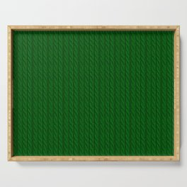 Green Cable Knit Sweater knitting design Serving Tray