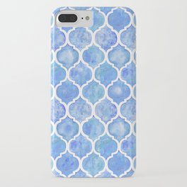 Cornflower Blue Moroccan Hand Painted Watercolor Pattern iPhone Case