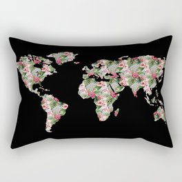 Floral World Map Rectangular Pillow