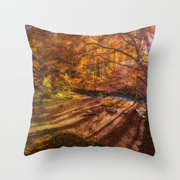 The Golden Autumn Campground (Color) Throw Pillow