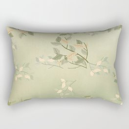 Sage Green Watercolor Woodland Leaves Rectangular Pillow