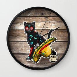 Gato en un Sombrero - Day of the Dead Sugar Skull Cat - Dia de los Muertos Kitty Wall Clock