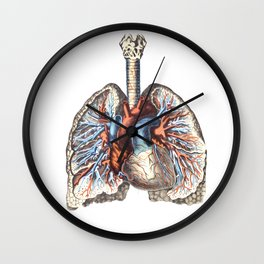 Fill Your Lungs. Vintage Colour Print Illustration Wall Clock