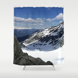 Mountains dappled with snow and rock Shower Curtain