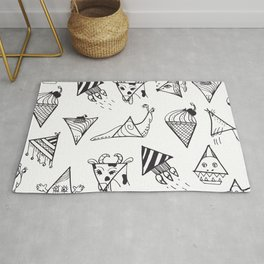 Funny doodle triangle creatures Rug