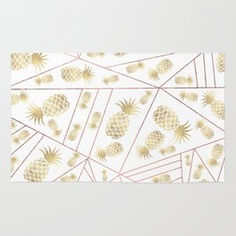 Elegant modern faux rose gold geometrical gold pineapple Rug