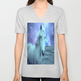 Celestial Dreams Horse Periwinkle Lavender Aqua Unisex V-Neck