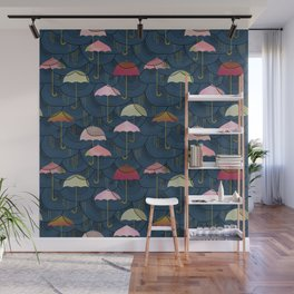 Rainclouds and Umbrellas Wall Mural