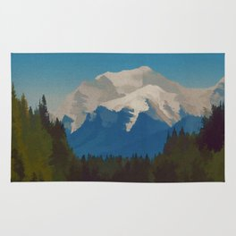 Rocky Mountains Canada Vintage Travel Poster Rug