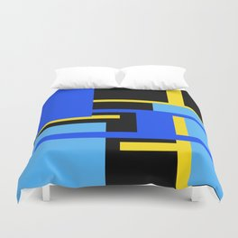 Rectangles - Blues, Yellow and Black Duvet Cover