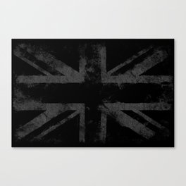 Grey Grunge UK flag Canvas Print