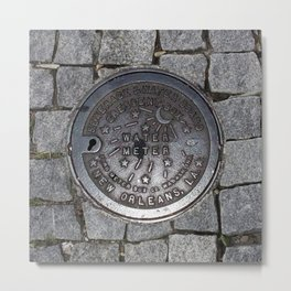 New Orleans Iron Water Utility Cover Metal Print
