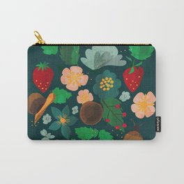 Strawberry salad garden party with the snails in blue Carry-All Pouch