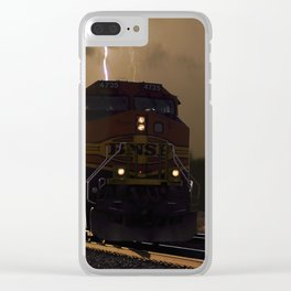 BNSF Locomotive Pulling Train in Thunderstorm at Henrietta MO Clear iPhone Case