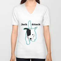 """jack russell V-neck T-shirts featuring """"Jack Attack"""" Running Jack Russell Terrier  by Unionjackrussells"""