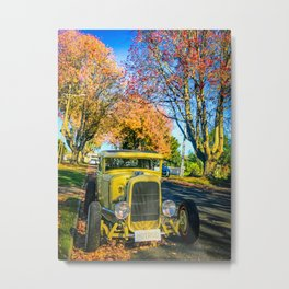 Yellow Hot Rod on an Autumn Day. Metal Print