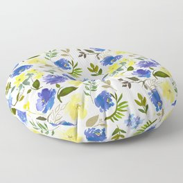 Scattered Blue and Yellow Blossom And Hydrangea on Gray    Floor Pillow